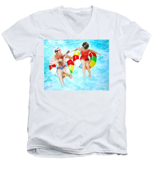 Pool Men's V-Neck T-Shirt by Beth Saffer