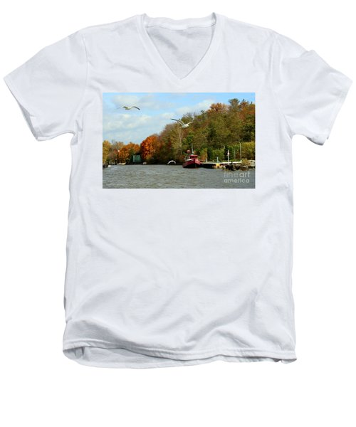Men's V-Neck T-Shirt featuring the photograph Port Dover Harbour by Barbara McMahon