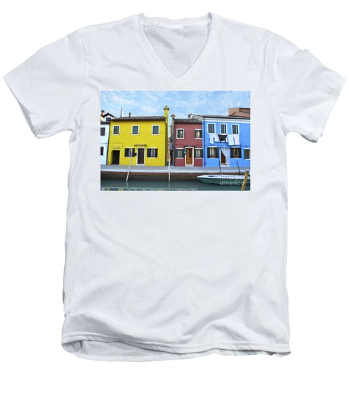 Men's V-Neck T-Shirt featuring the photograph Primary Colors In Burano Italy by Rebecca Margraf