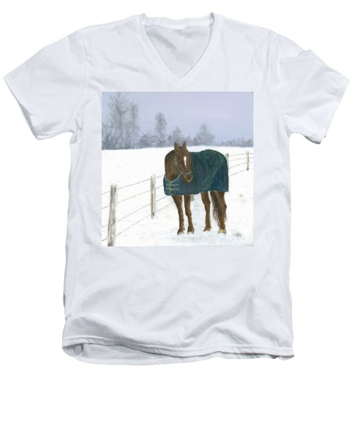 Men's V-Neck T-Shirt featuring the painting Prince by Laurel Best
