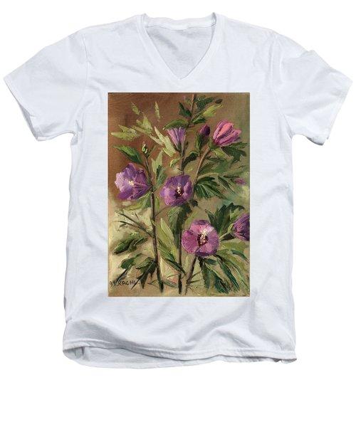 Purple Flowers 2 Men's V-Neck T-Shirt by Rachel Hershkovitz