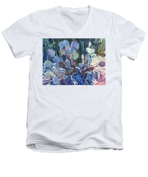 Men's V-Neck T-Shirt featuring the painting Purple Opuntia by Donald Maier