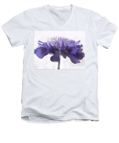 Men's V-Neck T-Shirt featuring the photograph Purple Pincushin by Debbie Portwood