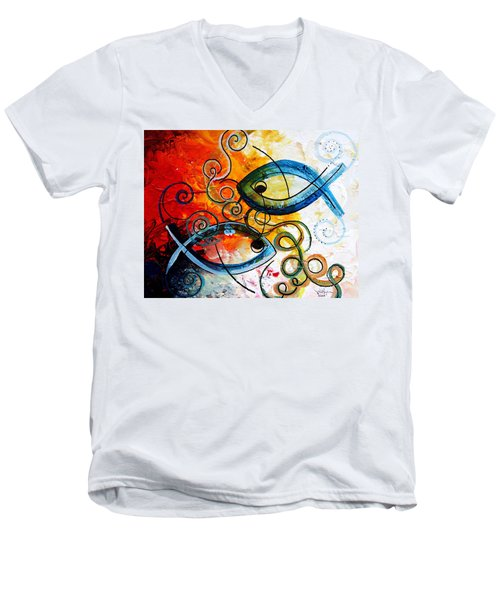 Purposeful Ichthus By Two Men's V-Neck T-Shirt