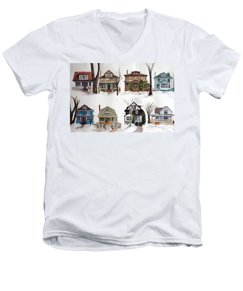 Men's V-Neck T-Shirt featuring the painting Raglan Road - Early Spring by Ruth Kamenev