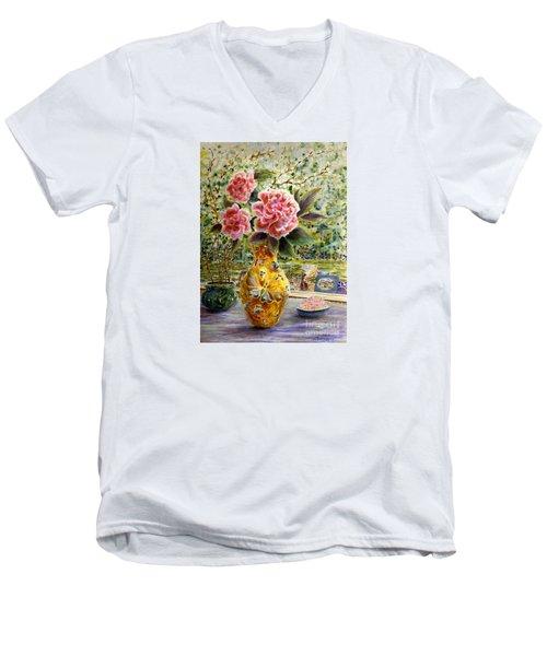 Rainy Afternoon Joy Men's V-Neck T-Shirt by Dee Davis
