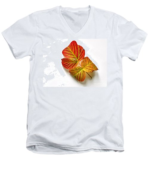 Men's V-Neck T-Shirt featuring the photograph Raspberry Leaves In Autumn by Sean Griffin
