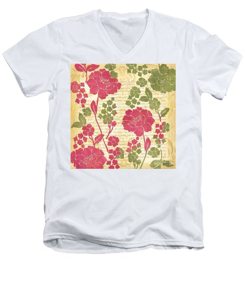Raspberry Sorbet Floral 1 Men's V-Neck T-Shirt by Debbie DeWitt