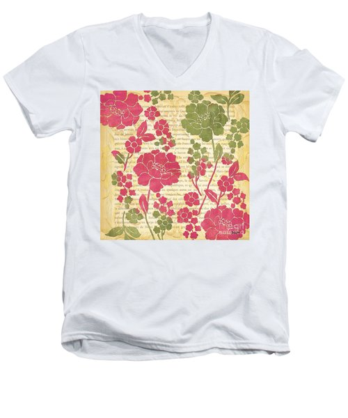 Raspberry Sorbet Floral 2 Men's V-Neck T-Shirt by Debbie DeWitt