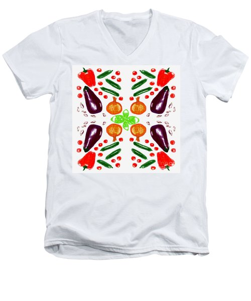 Men's V-Neck T-Shirt featuring the digital art Ratatouille by Barbara Moignard