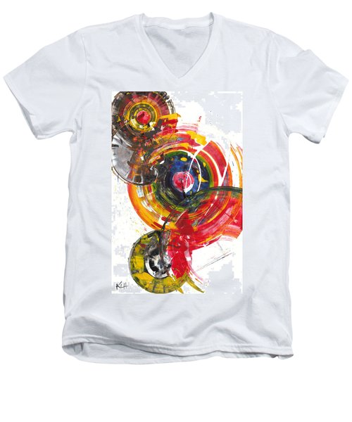 Men's V-Neck T-Shirt featuring the painting Red And Blue's Gold  837.120811 by Kris Haas