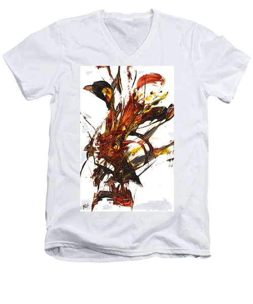 Men's V-Neck T-Shirt featuring the painting Red Flame II 65.121410 by Kris Haas