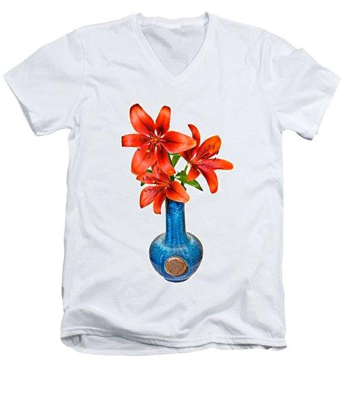 Red Lilies In Blue Vase Men's V-Neck T-Shirt