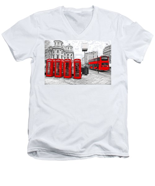 Men's V-Neck T-Shirt featuring the photograph Red London by Luciano Mortula