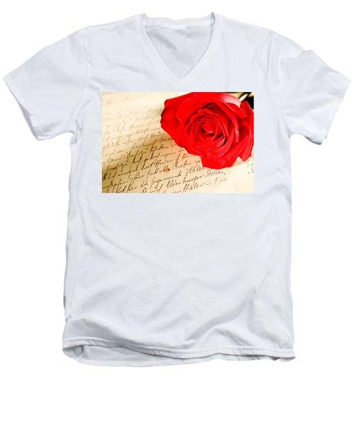 Red Rose Over A Hand Written Letter Men's V-Neck T-Shirt