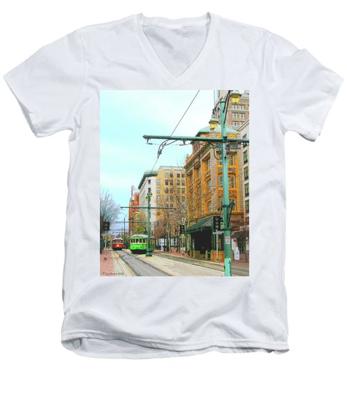 Men's V-Neck T-Shirt featuring the photograph Red Trolley Green Trolley by Lizi Beard-Ward