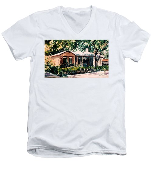 Men's V-Neck T-Shirt featuring the painting Redwood City #4 by Donald Maier