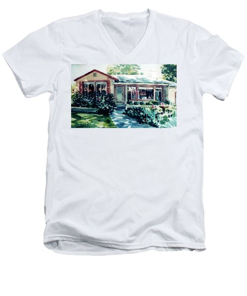 Men's V-Neck T-Shirt featuring the painting Redwood City House #2 by Donald Maier