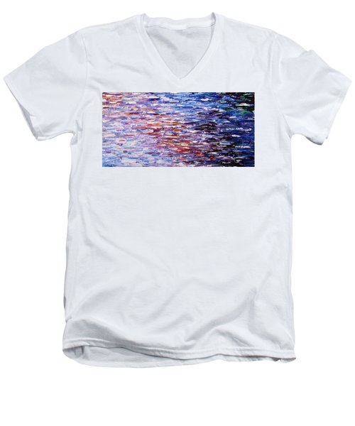 Men's V-Neck T-Shirt featuring the painting Reflections by Kume Bryant