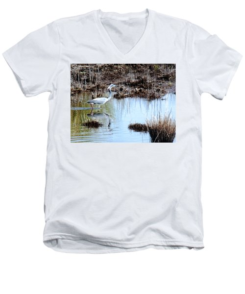 Reflections Of A Blue Heron Men's V-Neck T-Shirt