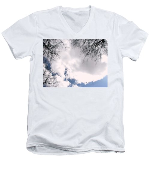 Men's V-Neck T-Shirt featuring the photograph River In The Sky by Pamela Hyde Wilson