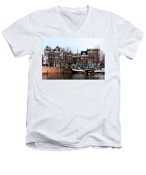River Scenes From Amsterdam Men's V-Neck T-Shirt by Carol Ailles