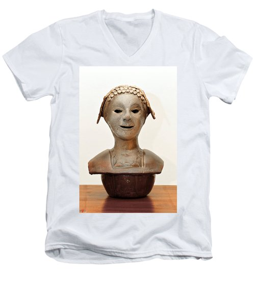Roman Mask Torso Lady With Head Cover Face Eyes Large Nose Mouth Shoulders Men's V-Neck T-Shirt