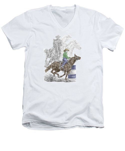 Men's V-Neck T-Shirt featuring the drawing Running The Cloverleaf - Barrel Racing Print Color Tinted by Kelli Swan