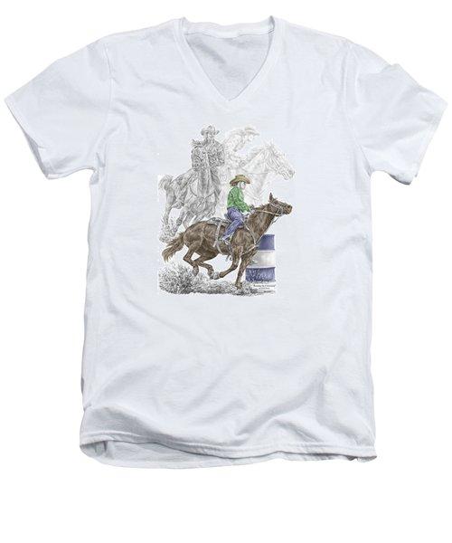 Running The Cloverleaf - Barrel Racing Print Color Tinted Men's V-Neck T-Shirt