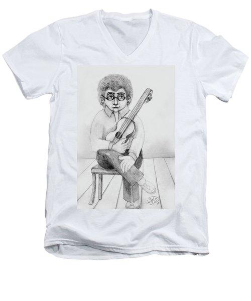 Russian Guitarist Black And White Art Eyeglasses Long Curly Hair Tie Chin Shirt Trousers Shoes Chair Men's V-Neck T-Shirt by Rachel Hershkovitz