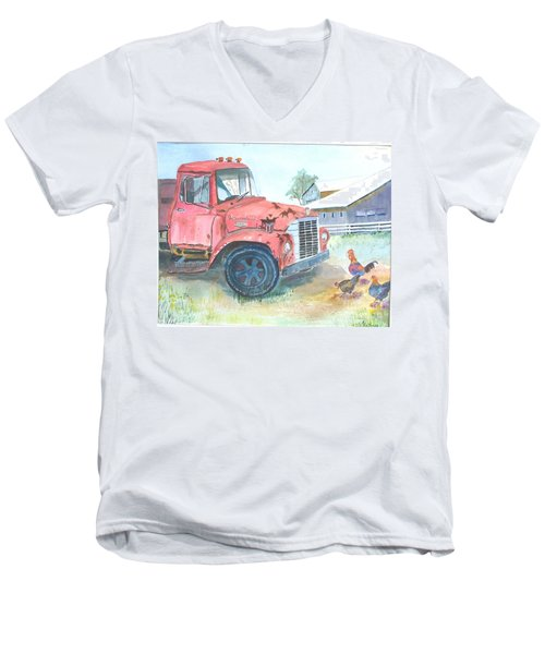 Rusty Truck Men's V-Neck T-Shirt by Christine Lathrop