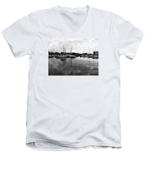 Men's V-Neck T-Shirt featuring the photograph Sailboats At Bluffers Marina Toronto by Susan  Dimitrakopoulos