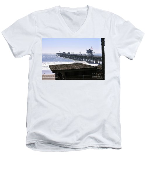 Men's V-Neck T-Shirt featuring the photograph San Clemente Pier California by Clayton Bruster
