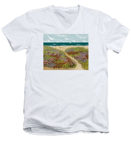 Sand Path Men's V-Neck T-Shirt by Katherine Young-Beck