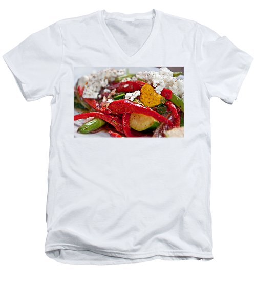 Sauteed Vegetables With Feta Cheese Art Prints Men's V-Neck T-Shirt by Valerie Garner