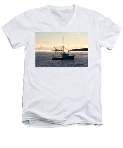 Sea-smoke On The Harbor Men's V-Neck T-Shirt by Brent L Ander