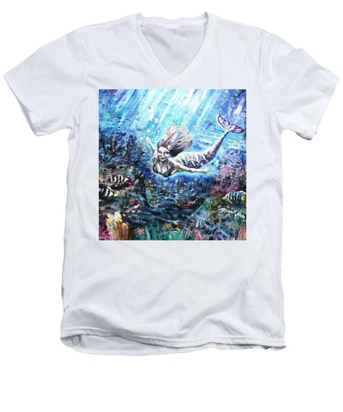 Men's V-Neck T-Shirt featuring the painting Sea Surrender by Shana Rowe Jackson