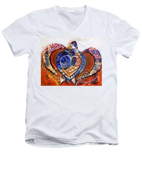 Sea Turtle Love - Orange And White Men's V-Neck T-Shirt