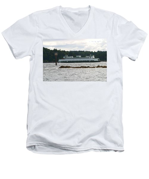 Men's V-Neck T-Shirt featuring the photograph Sealth Ferryboat Rich Passage by Kym Backland