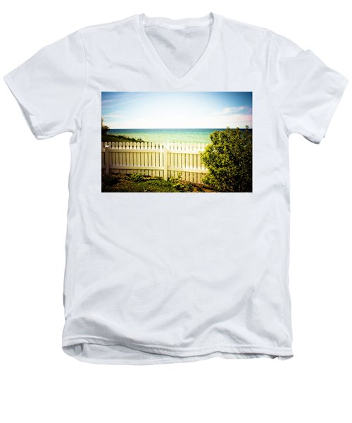 Men's V-Neck T-Shirt featuring the photograph Seaside Retreat by Sara Frank