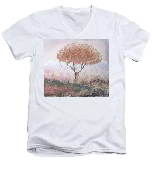 Silk Tree In Brown And Purple  Men's V-Neck T-Shirt