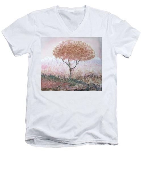 Silk Tree In Brown And Purple  Men's V-Neck T-Shirt by Rachel Hershkovitz
