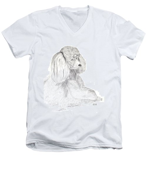Men's V-Neck T-Shirt featuring the drawing Silver Poodle by Maria Urso