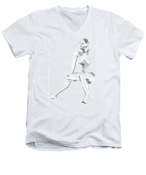 Sitting Men's V-Neck T-Shirt