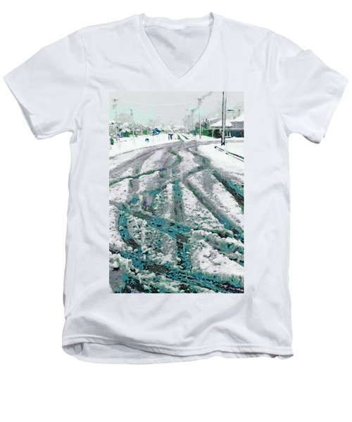 Men's V-Neck T-Shirt featuring the photograph Slipping And Sliding  by Steve Taylor