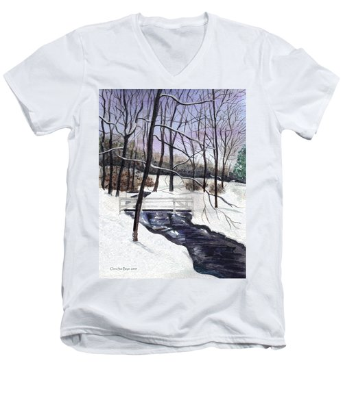 Snowy Shawnee Stream Men's V-Neck T-Shirt
