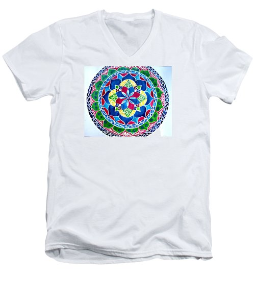 Spring Mandala Men's V-Neck T-Shirt by Sandra Lira