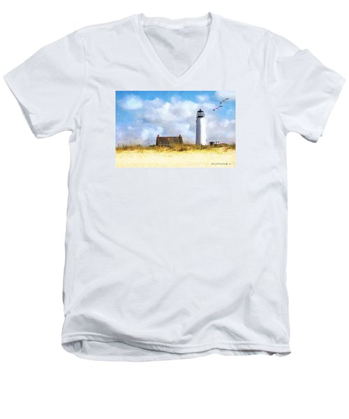 Men's V-Neck T-Shirt featuring the photograph St. George Island Lighthouse by Rhonda Strickland