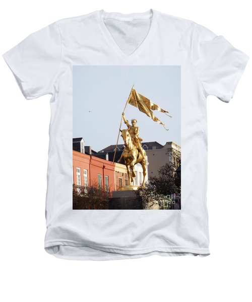Men's V-Neck T-Shirt featuring the photograph St. Joan At Dawn by Alys Caviness-Gober