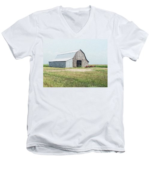 Men's V-Neck T-Shirt featuring the digital art Summer Barn by Debbie Portwood